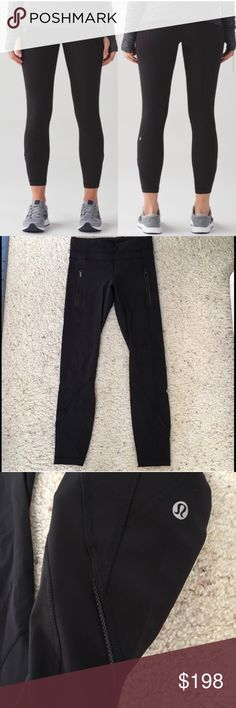 Lululemon black leggings size 2 Lululemon Inspire 7/8 leggings  brushed.Size 2. No longer available in stores! Strong compression for Hugged sensation. Pockets on sides with zips. Excellent used condition. Worn once and washed, hung to dry. lululemon athletica Pants Leggings