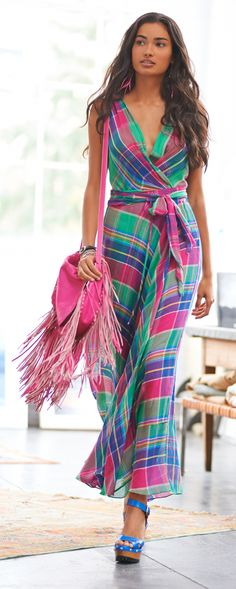 This plaid maxi wrap dress from Polo Ralph Lauren ties together all of the colors of the season. Accent vibrant patterns, like the multi-hued plaid used for this dress, by choosing one or two bright colors to highlight with coordinating accessories and footwear.