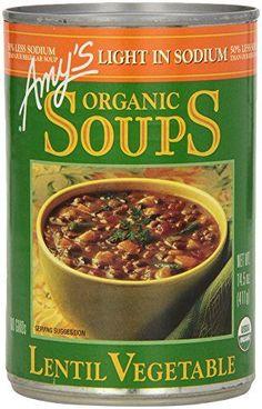 Amys Light in Sodium Organic Soups  Lentil Vegetable 145 oz *** Visit the image link more details.