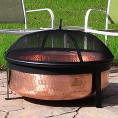 "The Sunnydaze Hammered Copper Fire Pit Bowl will be a nice decorative piece in your back yard. This copper fire pit a 9"" deep bowl tol accommodate large fires."