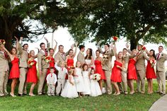 Bridal party photo! This bride made red work for a summer wedding!