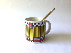 Vintage Mug with Bold Graphics. Nr. 2 Pencils. Back to School Gift. by AntVillage on Etsy