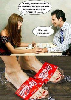 Chéri pour les #fêtes tu m'offres des chaussures ? mais d'une marque conue svp !!! bien sûr mon #coeur !!! #blague #drôle #drole #humour #mdr #lol #vdm #rire #rigolo #rigolade #rigole #rigoler #blagues #humours French Meme, Cute Captions, Funny Jokes, Hilarious, Frases Humor, Image Fun, Me Too Meme, Parenting Humor, What Is Life About