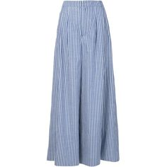 Adam Lippes Striped Wide Leg Trousers (¥72,135) ❤ liked on Polyvore featuring pants, skirts, bottoms, trousers, calças, blue, wide leg cotton pants, stripe pants, striped wide leg pants and blue striped pants