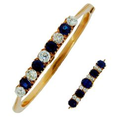 Imperial Russia Sapphire Diamond Yellow Gold Bangle Bracelet and Pin / Brooch | From a unique collection of vintage brooches at http://www.1stdibs.com/jewelry/brooches/brooches/