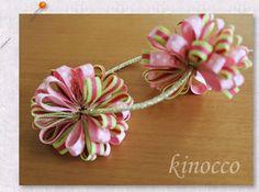 kinocco -キノッコ--ポンポンリボンヘアゴム作り方