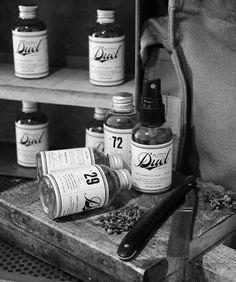 duel bottle packaging, love the vintage feel