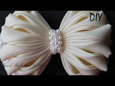 Бантик из ленты с бисером Канзаши Мастер класс DIY Bow of ribbon with beads Kanzashi - YouTube