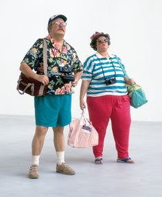 Duane Hanson Tourists II 1988 Autobody filler, fibreglass and mixed media, with accessories Life-size