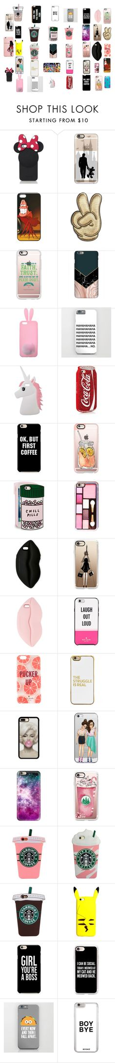"""some of  my fav phone cases!!!"" by kbentley-2004 ❤ liked on Polyvore featuring Kate Spade, Disney, Casetify, Anya Hindmarch, Miss Selfridge, ban.do, STELLA McCARTNEY and BaubleBar"