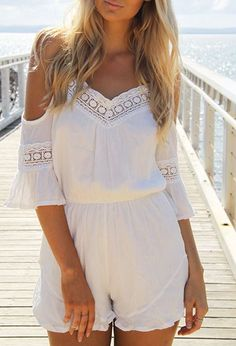 44d90200027c Bring along the white romper to your next vacation! This boho romper  features cold shoulder