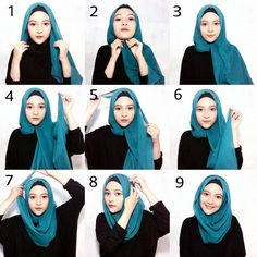This is a basic everyday hijab style using a gorgeous blue scarf mixed with a black underscarf to wear with a full black outfit or an abaya for a casual day. To get this look done, follow the steps as…