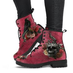 Custom Shoes, Custom Design Shoes, Goth Shoes, 90s Boots, Women's Boots, Leather Lace Up Boots, Pink Boots, White Boots, Vegan Leather