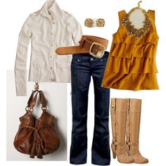 Orange ruffle top! Would wear everything but the boot. A dark brown pointed toe cowgirl boot would be nice with this outfit.