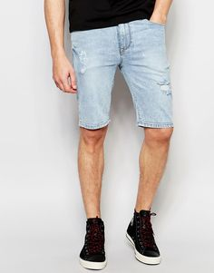 Image 1 of ASOS Super Skinny Denim Shorts In Lightwash Blue With Rip And Repair