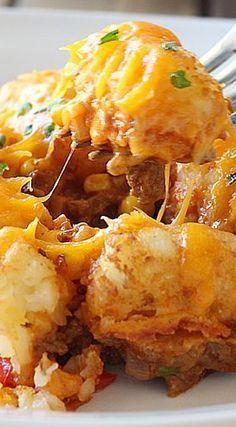Gluten Free Sloppy Joe Tater Tot Casserole http://papasteves.com/blogs/news