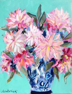 I absolutely loved painting this bouquet of cafe au lait dahlias! I wanted to capture the texture of the petals while keeping it looks and expressive! I paired this bouquet with a blue ginger jar and a bright aqua background! Painting Inspiration, Art Inspo, Love Painting, Painting Flowers, Artist At Work, Original Paintings, Oil Paintings, Fine Art Prints, At Least