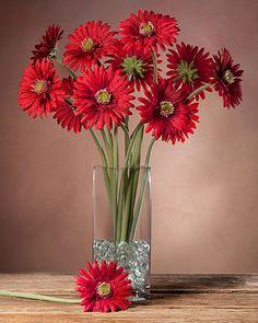 Gerbera Daisy Silk Flower Stems for Arranging at Petals Fake Flowers, Flowers Nature, Beautiful Flowers, Happy Flowers, Flowers Garden, Purple Flowers, Artificial Floral Arrangements, Silk Flower Arrangements, Silk Roses