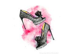 He encontrado este interesante anuncio de Etsy en https://www.etsy.com/es/listing/203488597/shoe-wall-art-christian-louboutin-shoe