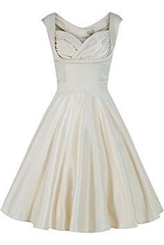 Womens Sateen Bridal Wedding Bridesmaid Vintage Cream Retro Dress XSMALL