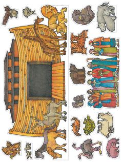 Noah's ark cutouts – don't like that the ark has the 'fairy tale' look, but good animal cut outs. Noah's ark cutouts – don't like that the ark has the 'fairy tale' look, but good animal cut outs. Sunday School Activities, Sunday School Lessons, Sunday School Crafts, Preschool Bible, Bible Activities, Bible Story Crafts, Bible Stories, Noahs Ark Craft, Flannel Board Stories