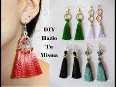 DIY TASSELS EARRINGS /COMO HACER ARETES CON BORLAS DE CINTA O LISTÓN | Paso a paso DIY - YouTube Diy Tassel Earrings, Tassel Jewelry, Beaded Jewelry, Jewellery, Ribbon Jewelry, Foam Crafts, Beads And Wire, Diy Crafts Videos, Tassels