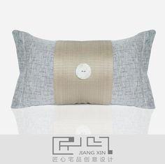 pillow 匠心宅品 新中式样板房/软装靠包抱枕 灰麻拼接贝壳腰枕(不含芯