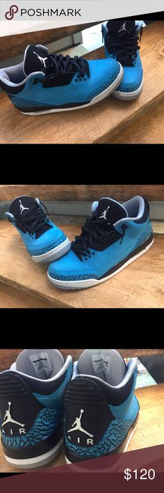 """Jordan """"Powder Blue"""" 3s Jordan Powder Blue 3s. Sz 11.5. Worn twice. 10/10 condition if I wipe off bottom. $110, price negotiable (need gone today). Jordan Shoes Athletic Shoes"""