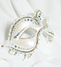 Pearl White and Blue Mask - Venetian Mask - Masquerade Ball Mask - Pearl Mask - Wedding Mask - Paper Mache Mask - Crystal Mask - Enchantress