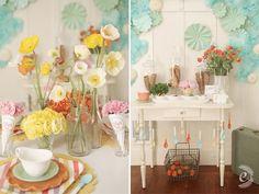 gelato bridal shower - love the poppies, pinwheels, and spoon garland :)