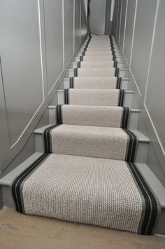 wool stair runners Bowloom wool carpet, fitted stair runners with Stripe P - Colour 2 binding tape Brown Carpet, White Carpet, Blue Carpet, New Carpet, Carpet Colors, Wool Carpet, Carpet Mat, Carpet Runner, Best Carpet For Stairs