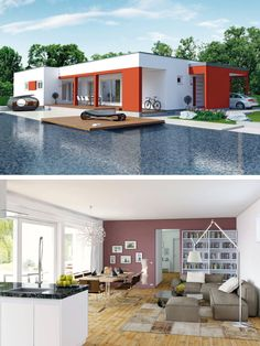 Bungalow Haus Modern Mit Flachdach Architektur Fassade Rot Weiß    Einfamilienhaus Innen Bungalow 147 ELK