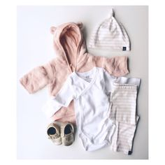Baby Style with VONBON organic cotton Rose Striped leggings and knotted hat. H&M organic cotton onesie and velour hoodie. Gold leather moccasins from minimoc.