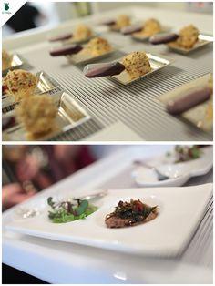 Chèvre & Grape Lollipop para ser degustado com uma pipeta de vinho do Porto e Atum selado. Lindas ideias do Buffet Zest Cozinha Criativa com as peças #dfilipa.