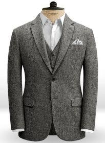 Harris Tweed Gray Herringbone Jacket | Tweed suits