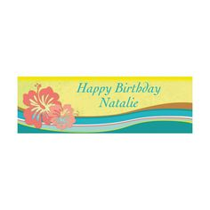 Personalized Small Hibiscus Wave Vinyl Banner