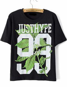 camiseta relax fit Leaves 93-negro 10.40
