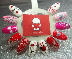 Nails Only, Love Nails, Fun Nails, Nail Designs Spring, Nail Art Designs, Gel Nails French, Valentine Nail Art, Glitter Gel Nails, Nail Design Video
