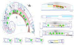 Multipurpose Hall Floor Plan DWG File - Cadbull Auditorium Plan, Auditorium Seating, Theater Plan, Multipurpose Hall, Hall Flooring, Hall Design, Autocad, Second Floor, Floor Plans