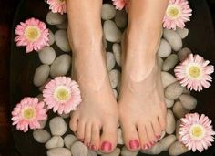 Vinegar Foot Soak: 1 cup sea salt, 1 cup Epsom salt, 1 cup vinegar and 1/2 cup dried lavender. Pour warm/hot water into a tub which is wide and deep enough for soaking your feet properly. Now put all the above-mentioned ingredients in warm water and stir the water for a minute. Just sit in a relaxing chair and put your feet in the tub. Soak them for at least 20 minutes and see how great it feels.