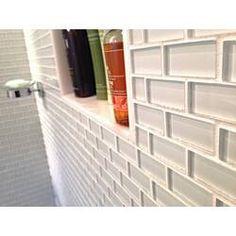 "Melay Glass Laguna 1"" x 4"" Glass Mosaic Tile & Reviews | Wayfair White Subway Tile Bathroom, Black Subway Tiles, Subway Tile Showers, Glass Subway Tile, Glass Mosaic Tiles, White Brick Tiles, White Glass Tile, Bathroom Tile Designs, Shower Designs"