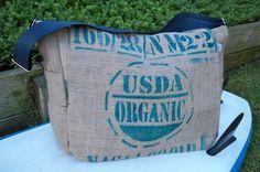 USDA Coffee Sack DIAPER BAG, Eco-Friendly and Handmade from a Recycled Coffee Sack. $75.00, via Etsy.