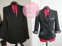 Refashionista: Black suit jacket transformation - Pearls and Scissors Blazers, Diy Clothes Refashion, Refashioned Clothes, Black Suit Jacket, Clothing Hacks, Clothing Redo, Clothing Ideas, Recycled Fashion, Recycled Clothing