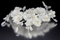 Boho Lace Flowers Bridal Hair Clip from Cassandra Lynne