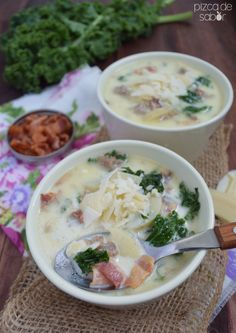 Zuppa toscana o sopa Toscana www.pizcadesabor.com