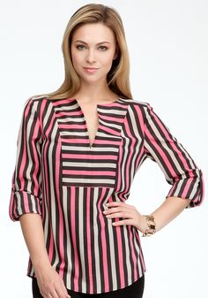 Tricolor Stripe V-Neck Tunic #bebe #vday I know I can wear this! Bold and beautiful!