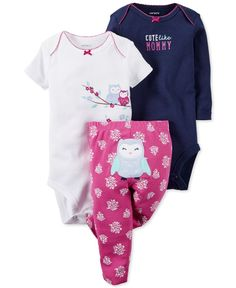 This Carter's three-piece set is a total woot, with two super-soft snap-bottom bodysuits and a coordinated pair of pull-on pants finished with an adorable owl applique at the back. | Cotton | Machine