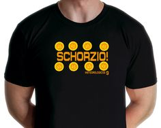 """Schorzio T-shirt Design by graphic artist Jarod inspired by the catch phrase from Chanel 9's Paula Fish, in a sketch in """"The Fast Show"""". Available from www.rocknprint.nl"""