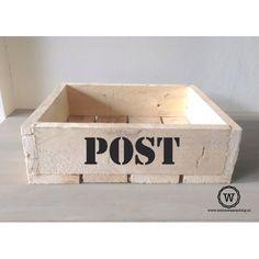 Houten opbergbak post met tekst  Gratis verzending