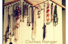 DIY Clothes Hanger Jewelry Organization